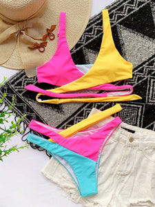 color patch cross bandaged hollow out swimwear