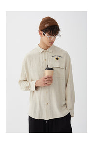 small letters embroidery vintage long sleeved men shirt