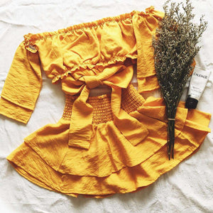 Tube Top Layered Rock Yellow Two-piece Set