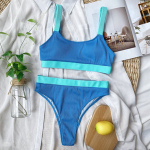 knitted contrast color 2 pieces bikini set - Lupsona