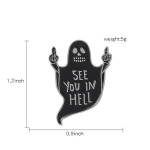 2 pieces halloween ghost/cat cartoon brooches - Lupsona