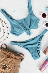 Button Up Front Tie 2 Pieces Bikini - Lupsona