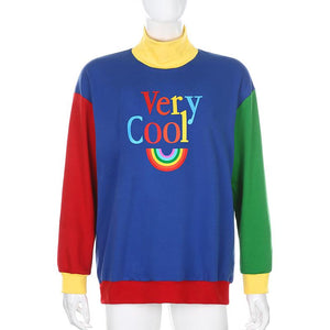 high collar color patch letters printed leisure sweatshirt