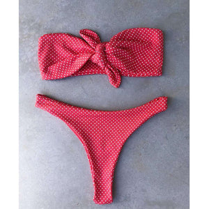 Niedliche Polka Dots Strapless 2 Pieces Bikini Set - Lupsona