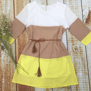 Color Patchwork Chiffon Casual Dress Hot Sale - Lupsona