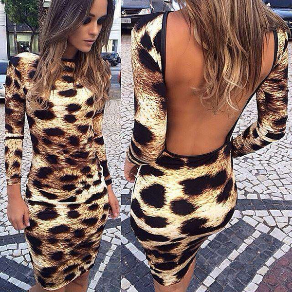 Leopardo Impreso Open Back Mini Dress Hot Sale - Lupsona