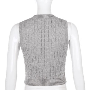 preppy style solid color/rhomboid shaped knitted sleeveless tank top
