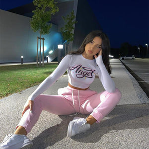 baby girl printed hooded cropped sweatshirt pants leisure women set