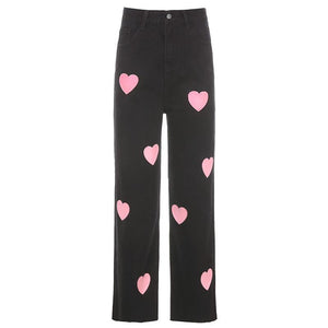high waisted cute heart printed leisure jeans
