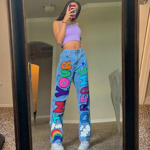 cute high waisted colorful letters printed leisure jeans