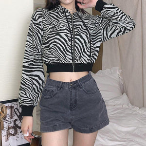 front pocket hooded zebra printed long sleeved zipper cropped sweatshirt