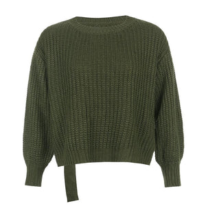 solid color back hollow out buckles cropped sweater