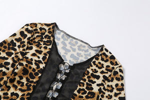 long sleeved sexy v neck lace-up leopard patchwork slim t-shirt