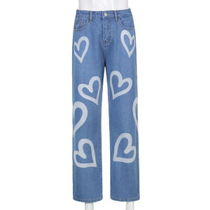 cute heart printed high waisted leisure jeans