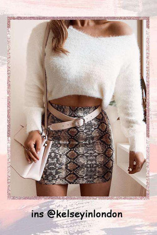 Snake Print Pack Hip Mini Skirt