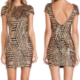 Backless Gold Sliver Sequins Short Sleeved Dress