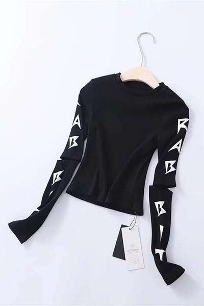 Gothic Elbow Hollow Out Long Sleeve T-Shirt - Lupsona