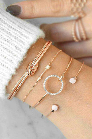 Chic Knot Arrow Ring Bracelet Set