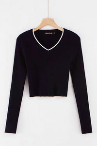 contrast color v neck cropped knitted slim top sweater - Lupsona