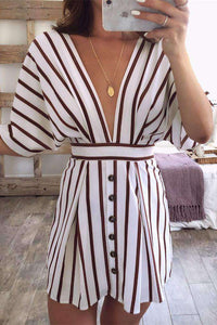 Tiefes V-Ausschnitt Bandage Striped Dress - Lupsona
