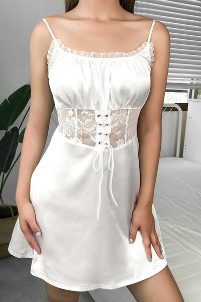 waist sheer lace patchwork satin strappy dress