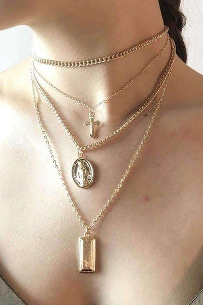Multi-layer Cross Pendant Necklace Set