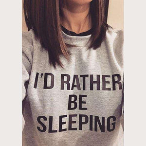 Sweat-shirt ample gris I'D RATHER BE SLEEPING - Lupsona