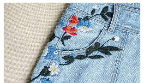 Flower Embroidery High Waist Denim Skirt - Lupsona
