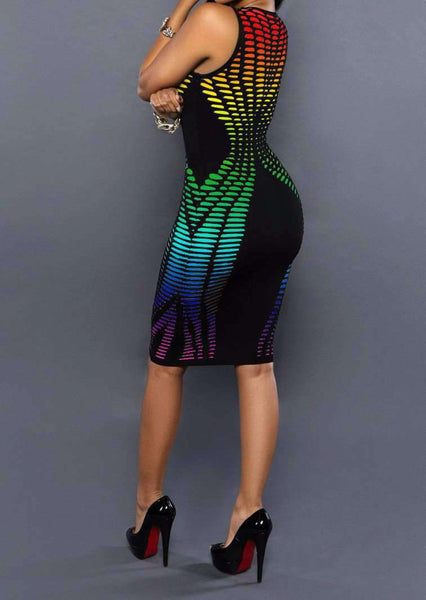 Gradient de imprimare sexy fără mâneci Club Cocktail Party Dress - Lupsona
