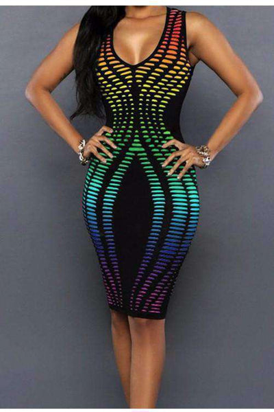 Neon Geometresch Printing Bodycon Party Kleeder