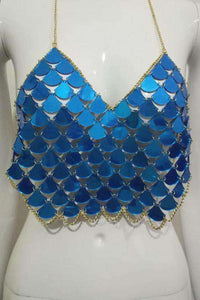 Mermaid Fish Scales Halter Crop Top - Lupsona