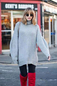 4 Colours Loose Turtleneck Sweater Dress - Lupsona