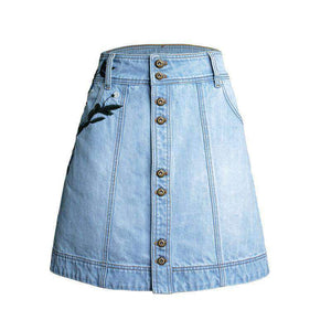 Blum Embroidery High Taille Denim Rock - Lupsona