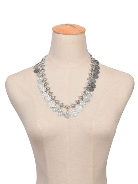 Boho Multilayers מעטפת Choker מטבע Neckleace סט - Lupsona