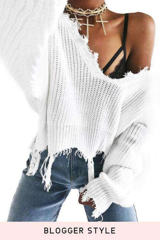 Deep V Neck Tassels Uregelmæssig Loose Crop Sweater
