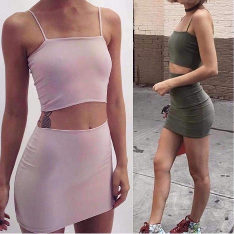 Cotton Strappy Crop Top & Mini Skirt Set