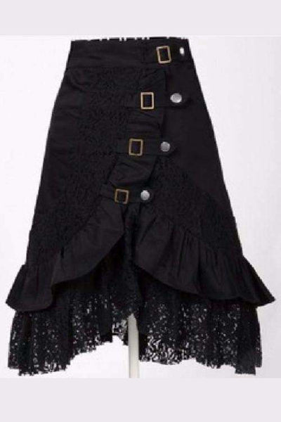 Black Lace Metal Button Steampunk Gothic Skirt - Lupsona