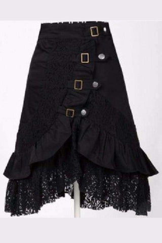 Black Lace Metal Button Steampunk Gothic Skirt
