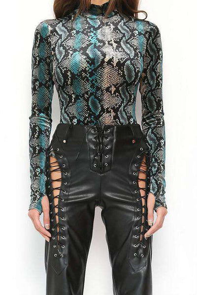 Punk Snake Print Long Sleeve Mock Neck Bodysuit
