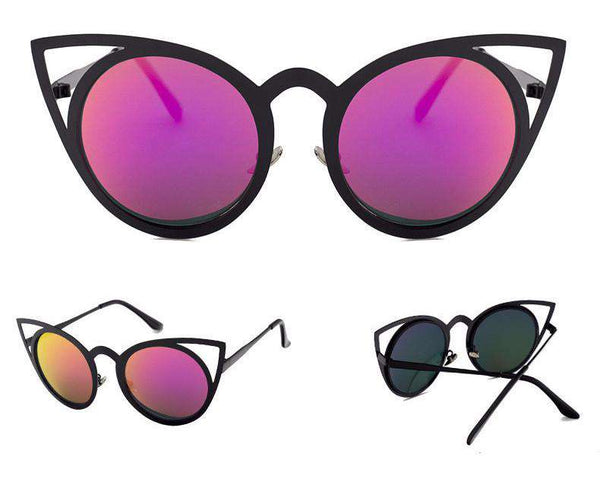 Oversized Cutout Round Cat Eye Sunglasses