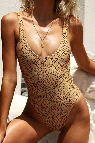 leopard printed backless one-piece swimsuit/front bowtie separated bikini set