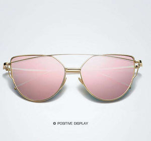Metallic Frame Mirrored Sunglasses - Lupsona