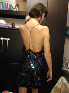 Skala Pailletten backless Mini Kleed - Lupsona