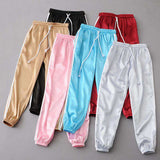Silky Sports Two Lines Narrow-cut Satin Pants
