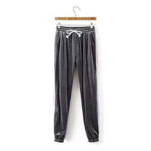 Retro Velvet Side Stripe Loose Jogger Pants - Lupsona