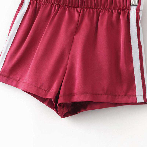 Silky Satin Two Lines Sport Casual Shorts