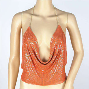 Sparkle Sequined Halter Adjustable Chain Mini Crop Top - Lupsona