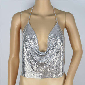 Sparkle Sequined Halter justerbar kjede Mini Crop Top - Lupsona