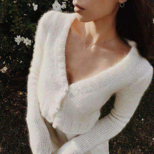 Solid Color Mohair Crop Cardigan Pullover - Lupsona