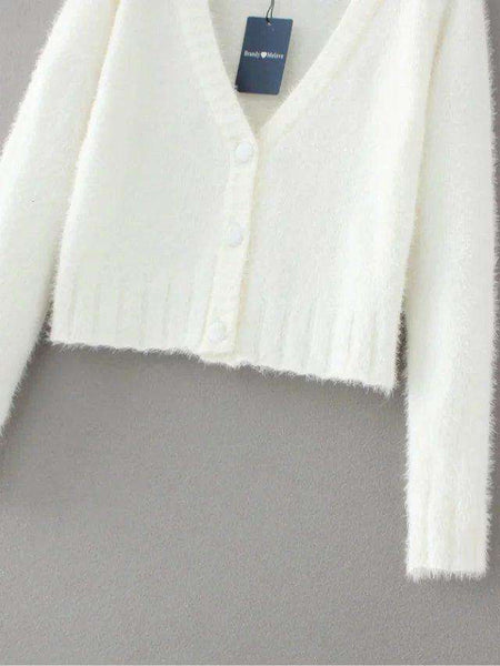 Mohair Crop Cardigan Sweater